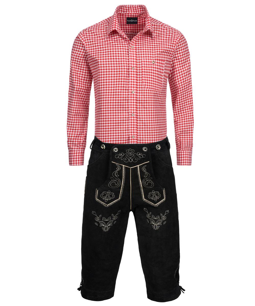 trachten set herren lederhose kniebund schwarz hemd. Black Bedroom Furniture Sets. Home Design Ideas
